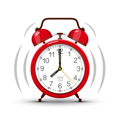 Eight Clock Morning Ringing Red Alarm Clock Vector Symbol. Time Icon.