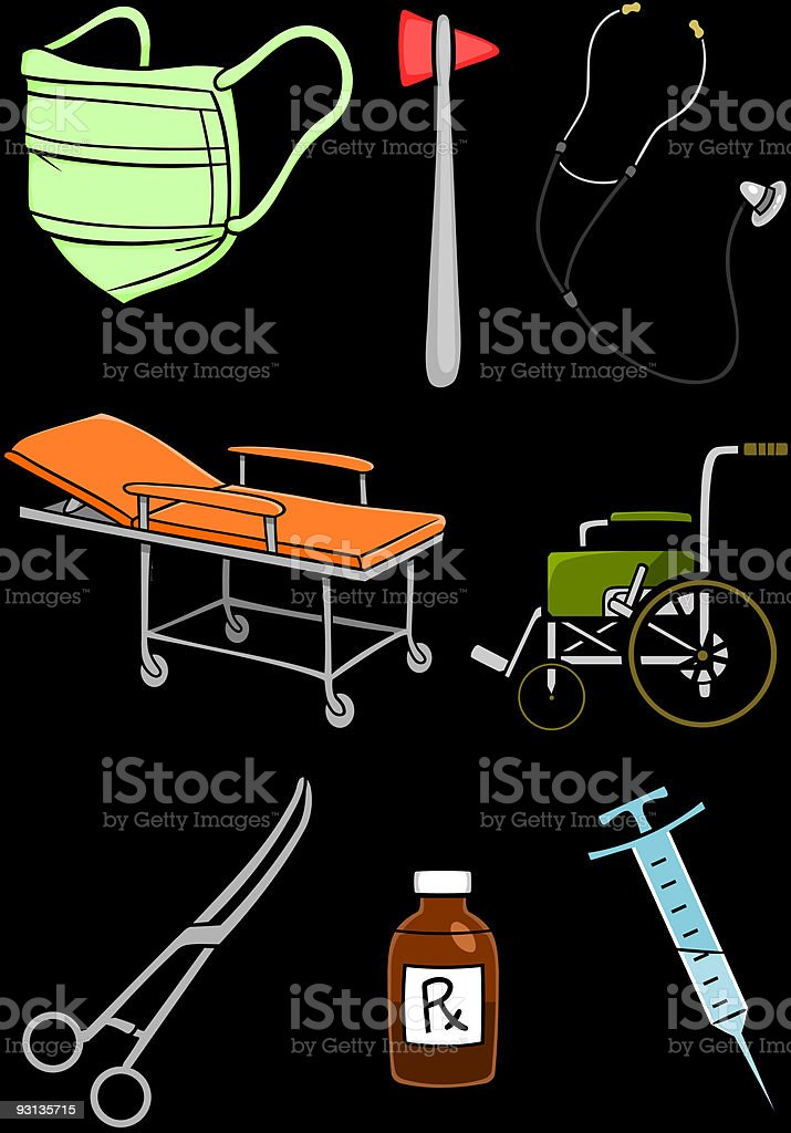 Eight colorful hospital equipment images on dark background royalty-free stock vector art