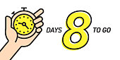 Eight Days Left Countdown Vector Illustration Template