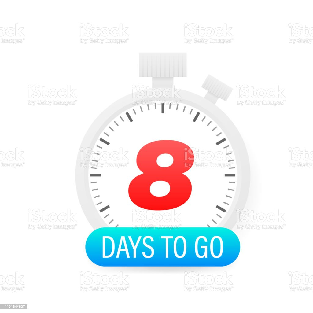 Eight Days To Go Timer Icon On White Background Stock