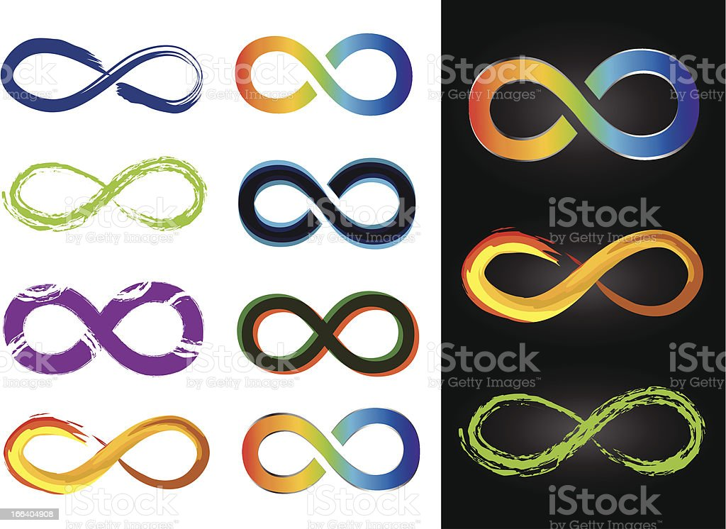 Eight Different Infinity Symbols - Vector Illustrations royalty-free stock vector art