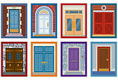Vector illustration of eight artistically different doors. Zipped file contains each as a separate AI8 .eps file and a hi-res jpg image.