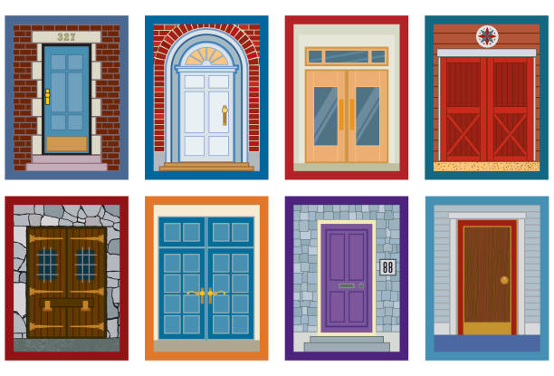 Eight Doors Vector illustration of eight artistically different doors. Zipped file contains each as a separate AI8 .eps file and a hi-res jpg image. front door stock illustrations