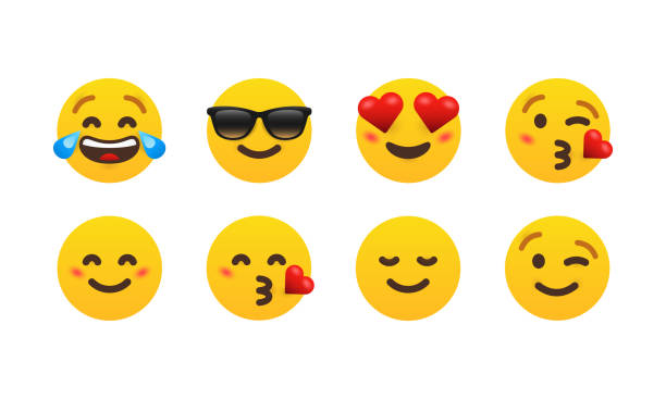 eight emoticon set. - radość stock illustrations