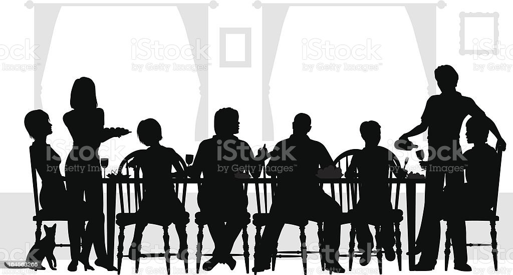 Eight family members eating at the table with wine  vector art illustration