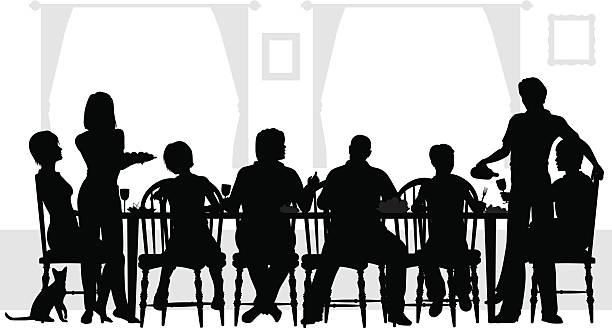 eight family members eating at the table with wine  - family dinner stock illustrations, clip art, cartoons, & icons