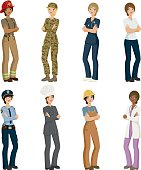 A large set of eight different women in professional uniforms. Download includes an AI10 vector EPS file as well as a high resolution RGB JPEG. The professions represented are nursing, firefighting, police, construction, housekeeping, soldiers, doctors and chefs. A variety of ethnicities are represented and each woman is grouped so it's easy to remove her.