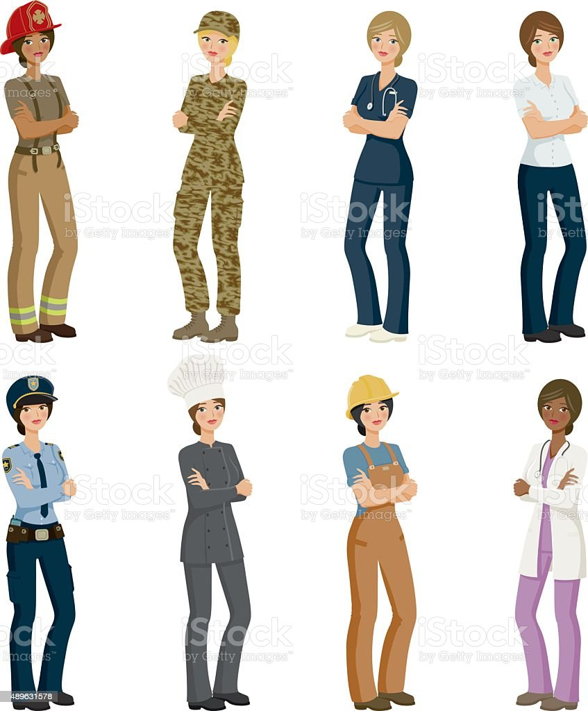 Eight Female Professions Icon Set vector art illustration
