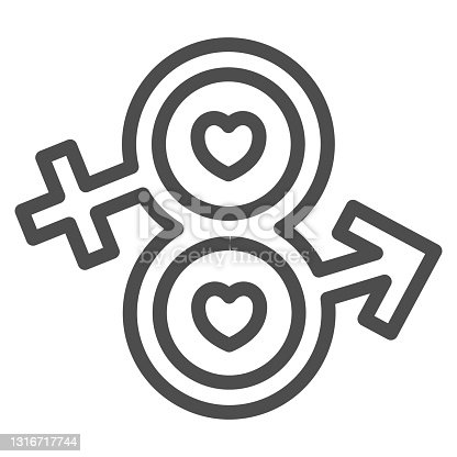 istock Eight from male and female sign line icon, 8 March concept, infinity eight-shaped symbol of male and female sign on white background, Sexual Equality icon in outline style. Vector graphics. 1316717744