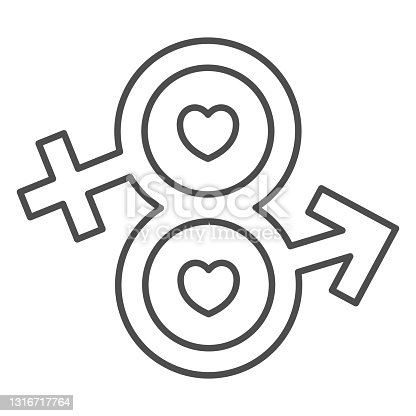 istock Eight from male and female sign thin line icon, 8 March concept, infinity eight-shaped symbol of male and female sign on white background, Sexual Equality icon in outline style. Vector graphics. 1316717764