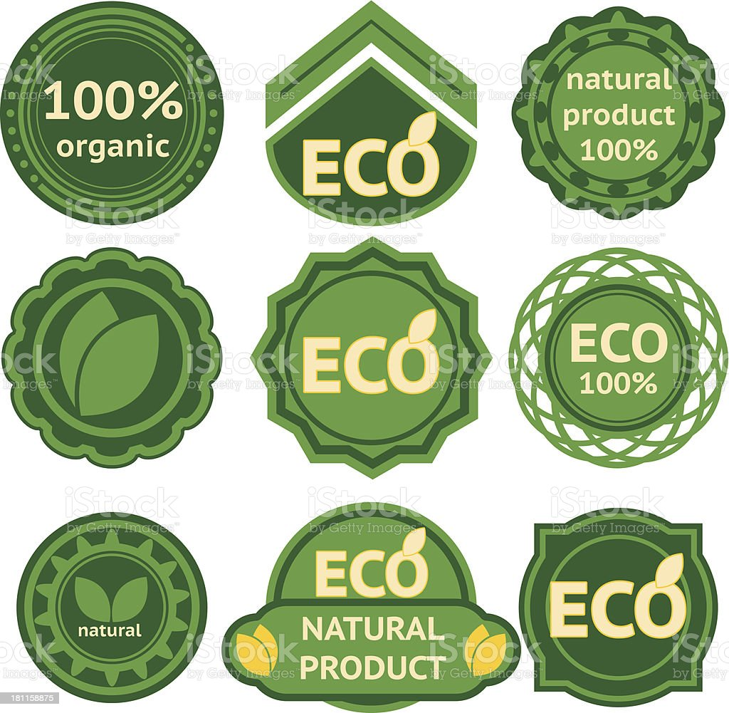 47ab367ee8 Oito verde rótulos para produtos ecológicos vetores de oito verde rótulos  para produtos ecológicos e mais