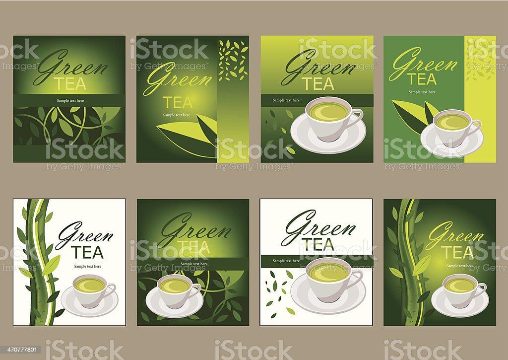 Eight green tea graphic designs vector art illustration