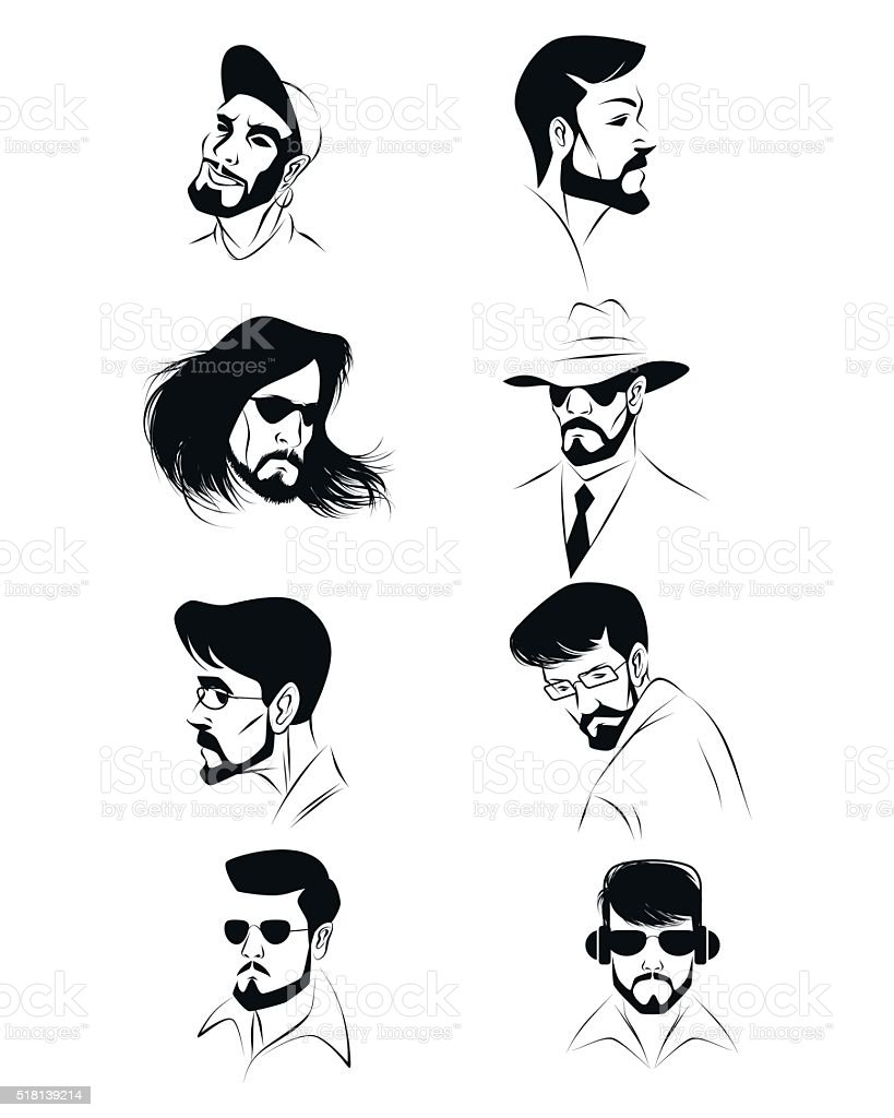 Eight male faces vector art illustration