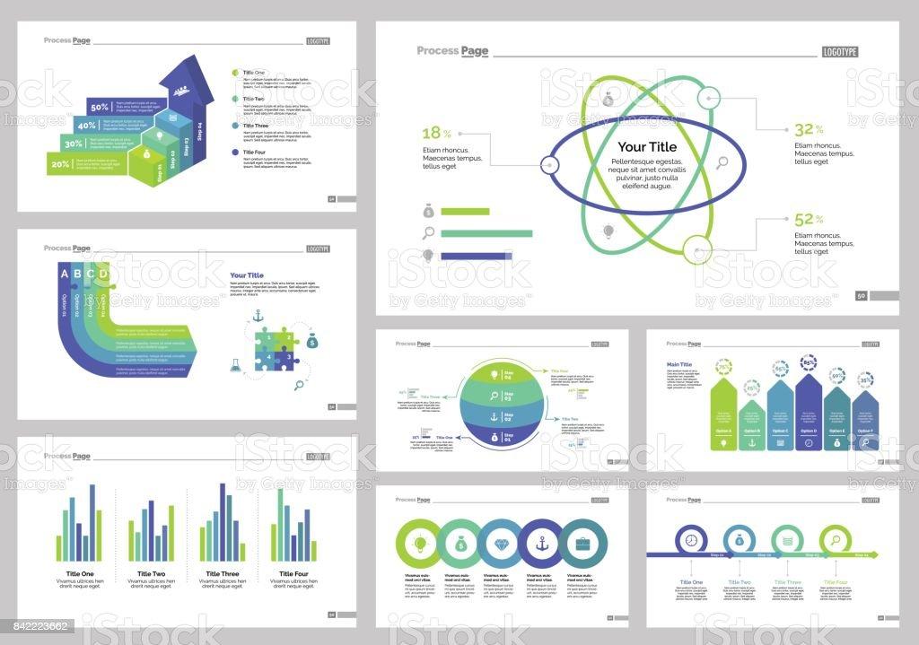 Eight Manage Slide Templates Set vector art illustration