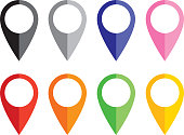 Vector illustration of eight  colorful graphic map pointers.