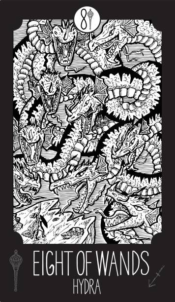 Eight of Wands. Hydra Minor Arcana Tarot card. Fantasy line art illustration. Engraved vector drawing. See all collection in my portfolio set rymdraket stock illustrations
