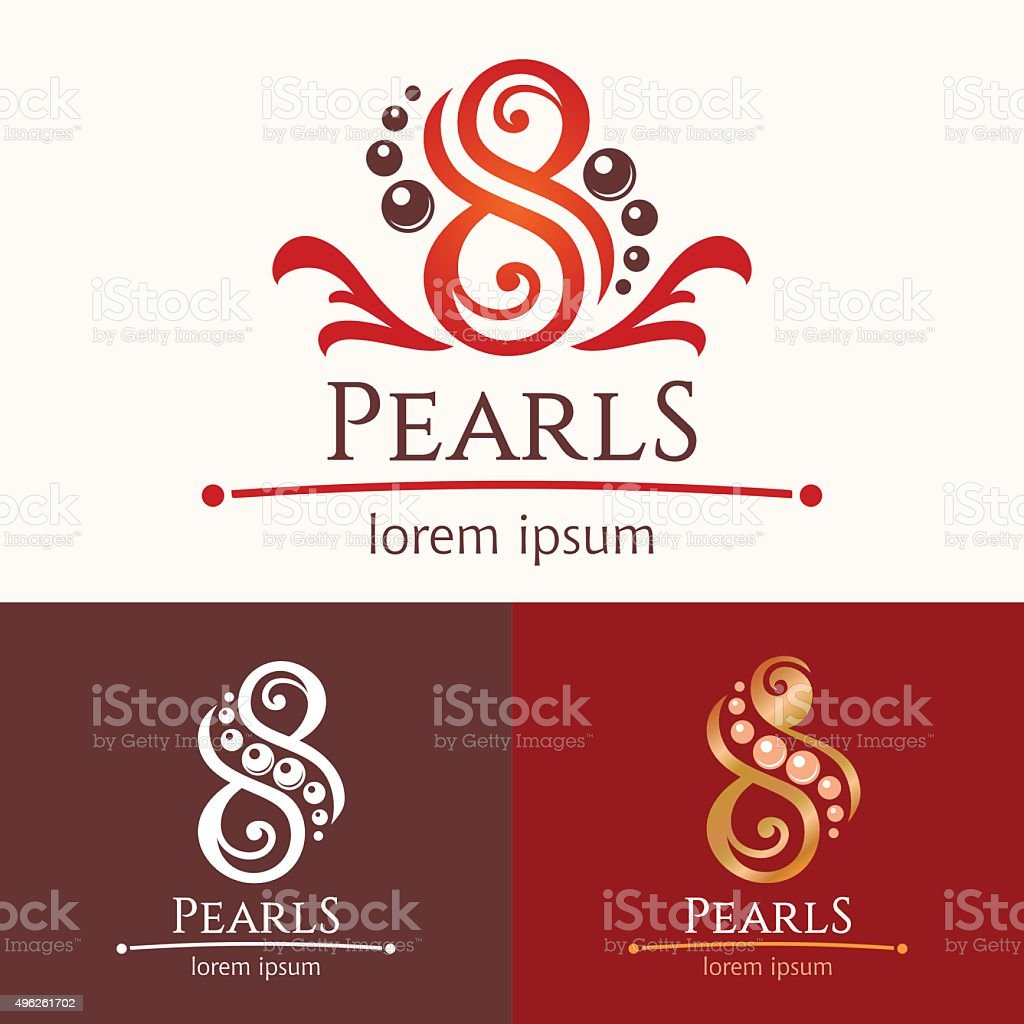 Eight pearls emblem template design set vector art illustration