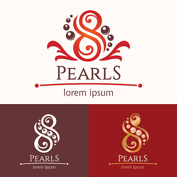 eight pearls emblem template design set - pearl jewelry stock illustrations, clip art, cartoons, & icons