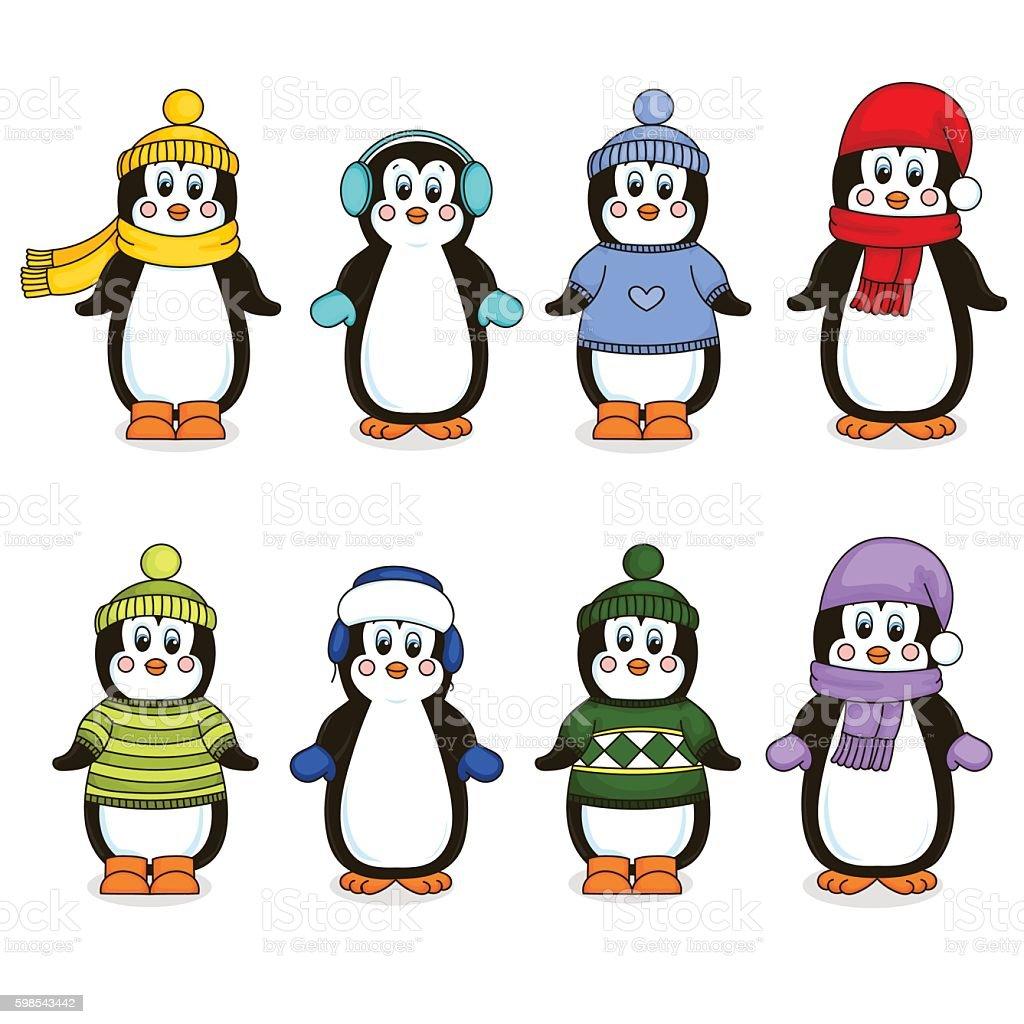 Eight penguins clothing. Isolated object. Vector illustration. eight penguins clothing isolated object vector illustration – cliparts vectoriels et plus d'images de antarctique libre de droits