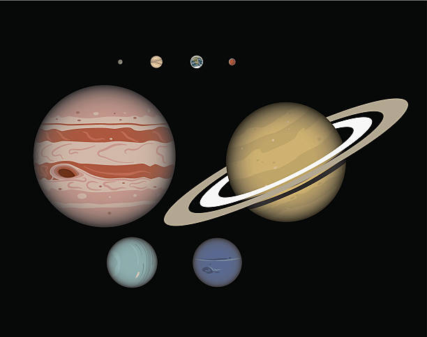 Eight Planet Solar System to Scale vector art illustration