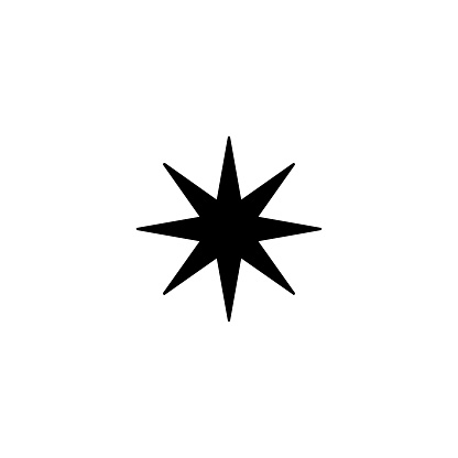 Eight point star vector icon. Isolated star shape