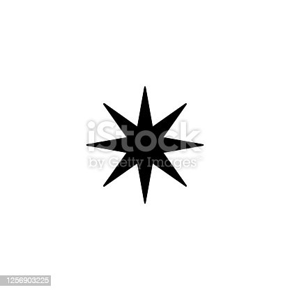 Eight point star vector icon. Isolated star shape