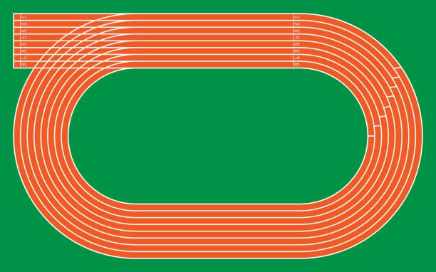 パターンとデザイン、ベクトル図は緑に 8 つの実行トラック - スタジアム点のイラスト素材/クリップアート素材/マンガ素材/アイコン素材