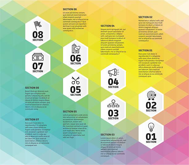 achtstufiges business infographic - schlüsselfertig stock-grafiken, -clipart, -cartoons und -symbole