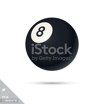 istock Eight-ball billiards ball smooth vector icon 1186904792