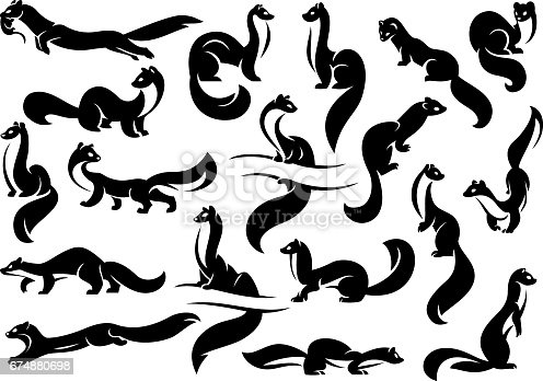 A set of figures of weasels, martens, ferrets. Black silhouette. Isolated on a white background