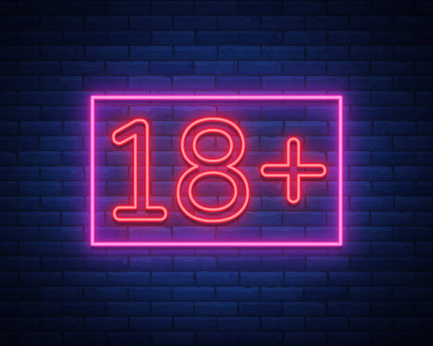 eighteen plus, age limit, sign in neon style. only for adults. night bright neon sign, symbol 18 plus. vector illustration - adults only stock illustrations