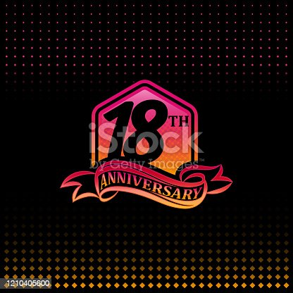 18th anniversary celebration logotype pink and yellow colored.  eighteen years birthday logo on black background.