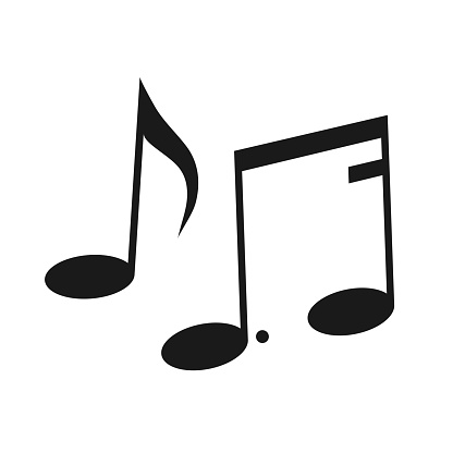 Eighth and sixteenth notes, song, melody. Black and white silhouette of musical notes. Illustration