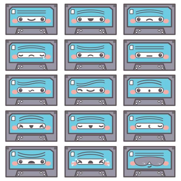 ilustrações de stock, clip art, desenhos animados e ícones de eighties emoticons and objects - tape face