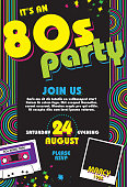 Vector illustration of an 80s themed retro party invitation design template. Includes sample text design, cassette tape, photo paper and design elements. Easy to customize for your own. Easy to add your favorite 80s photo. Download includes Illustrator 8 eps, high resolution jpg and png file.