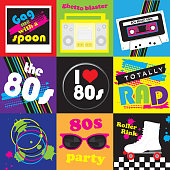 Vector illustration of an 80s themed icon set.