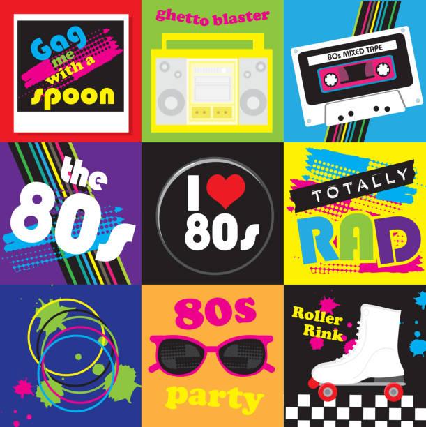 der 80er jahre-party motto-icon-set - rollschuh stock-grafiken, -clipart, -cartoons und -symbole