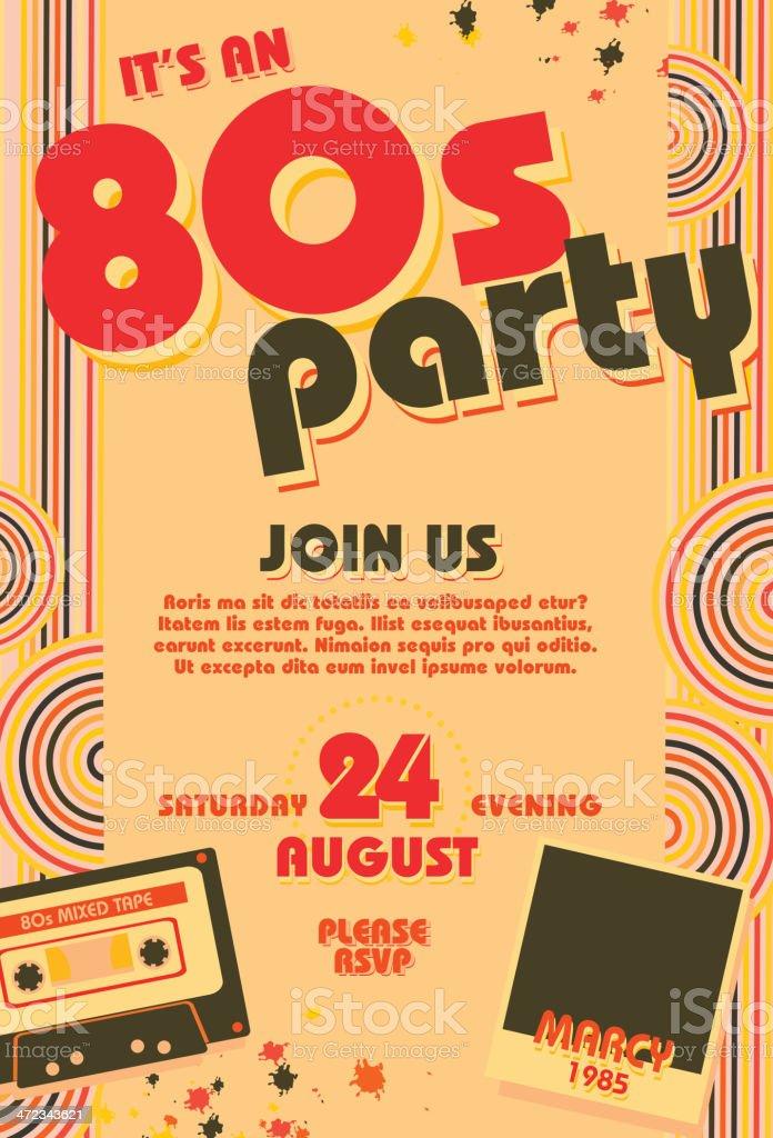 Eighties Party Themed Invitation Design Template Stock Vector Art ...