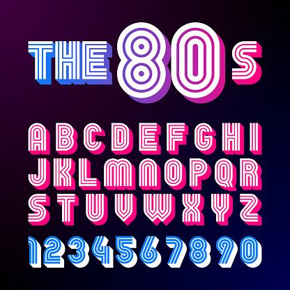 Eighties style retro font