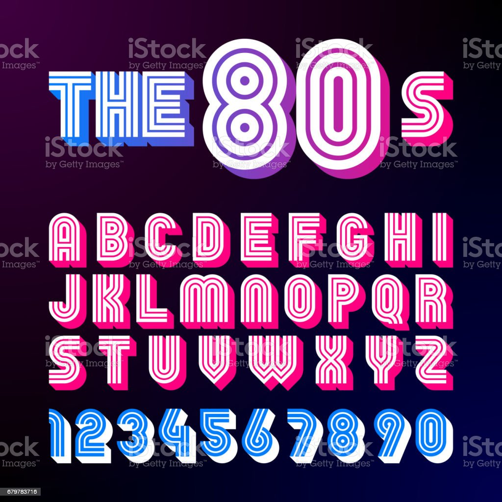 Eighties style retro font vector art illustration