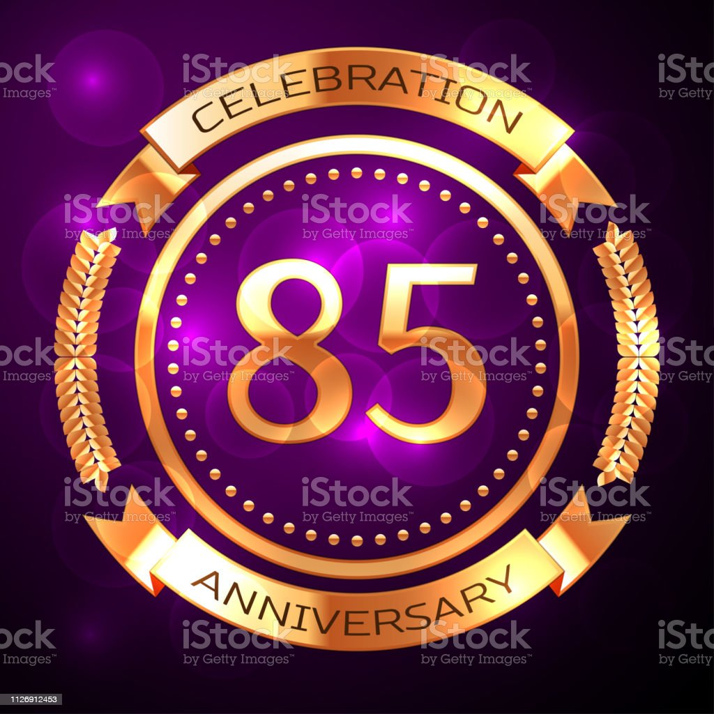 Eighty five years anniversary celebration with golden ring and ribbon on purple background. vector art illustration
