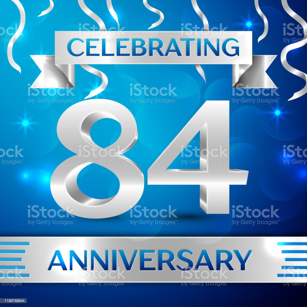 Eighty four 84 Years Anniversary Celebration Design. Confetti and silver ribbon on blue background. Colorful Vector template elements for your birthday party. Anniversary ribbon vector art illustration