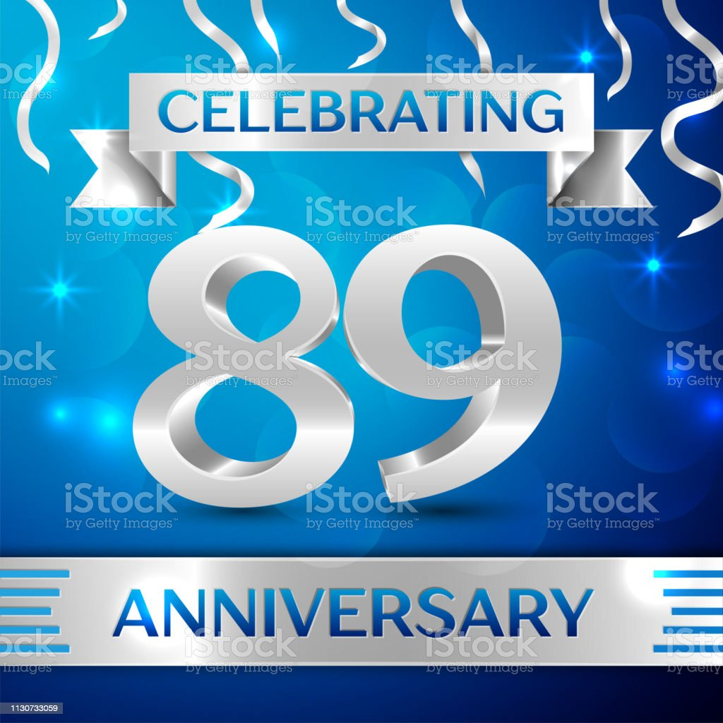 Eighty nine 89 Years Anniversary Celebration Design. Confetti and silver ribbon on blue background. Colorful Vector template elements for your birthday party. Anniversary ribbon vector art illustration