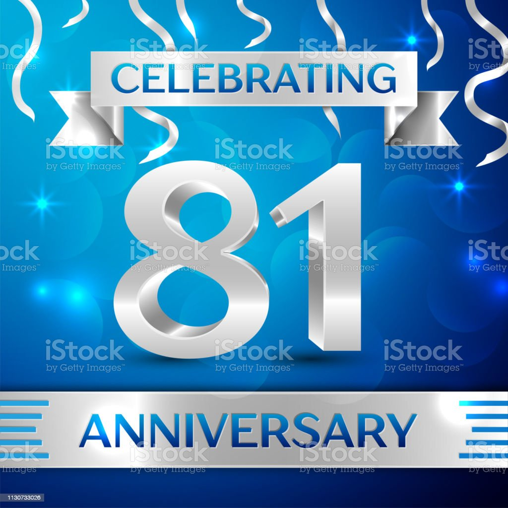 Eighty one 81 Years Anniversary Celebration Design. Confetti and silver ribbon on blue background. Colorful Vector template elements for your birthday party. Anniversary ribbon vector art illustration