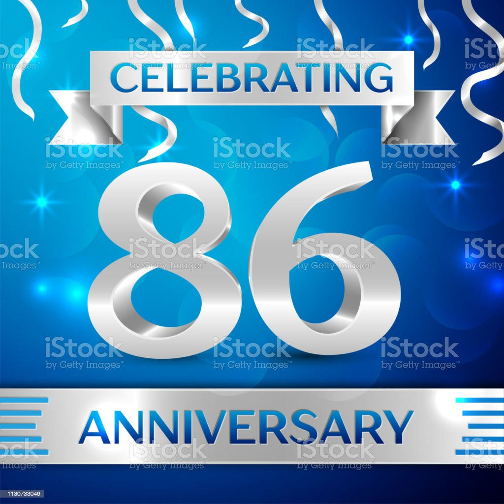 Eighty six 86 Years Anniversary Celebration Design. Confetti and silver ribbon on blue background. Colorful Vector template elements for your birthday party. Anniversary ribbon vector art illustration