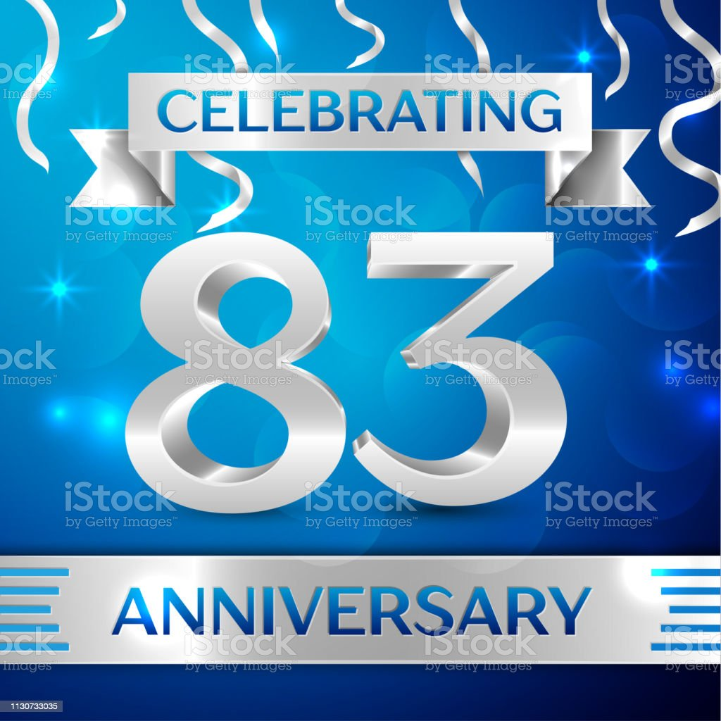 Eighty three 83 Years Anniversary Celebration Design. Confetti and silver ribbon on blue background. Colorful Vector template elements for your birthday party. Anniversary ribbon vector art illustration