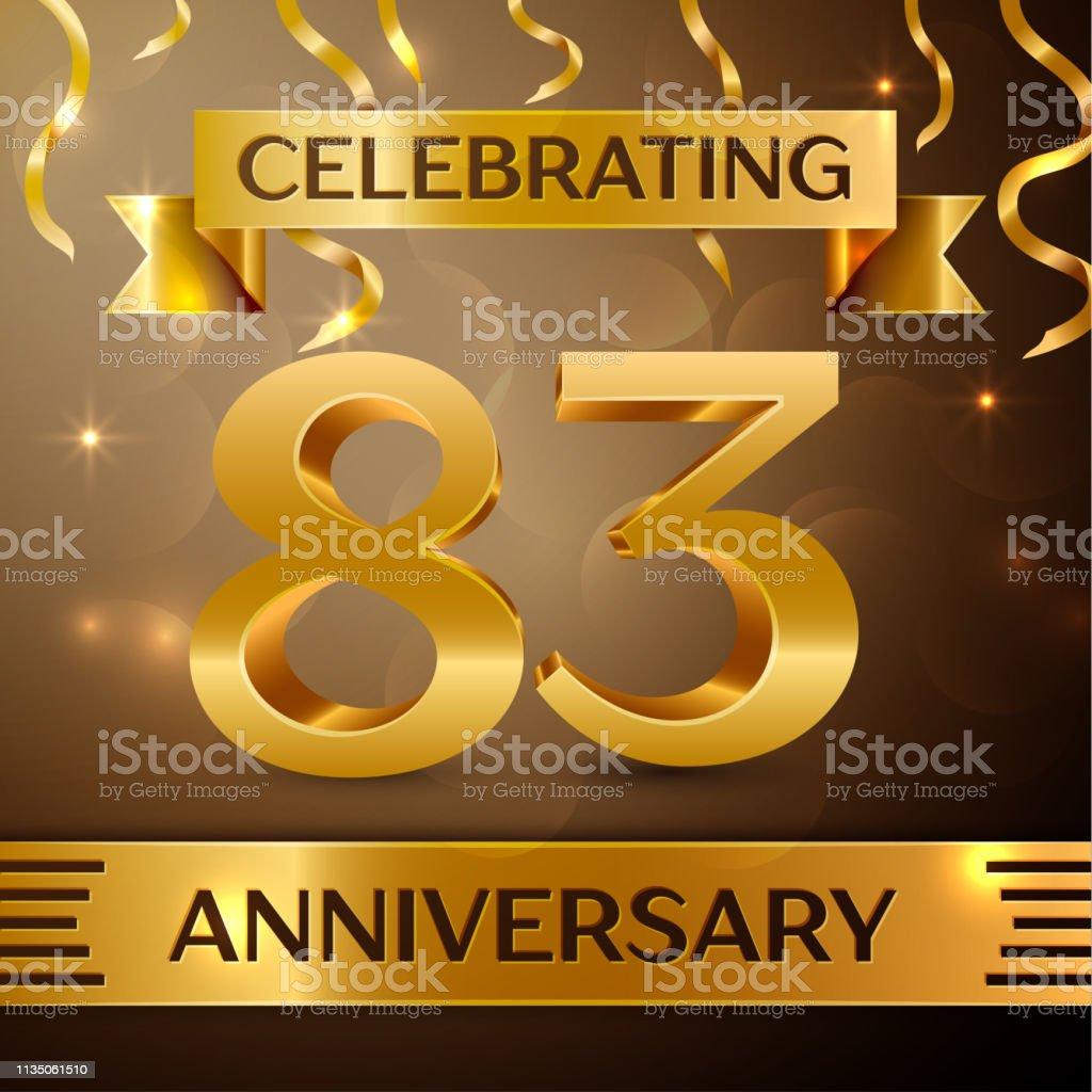 Eighty three Years Anniversary Celebration Design. Confetti and gold...