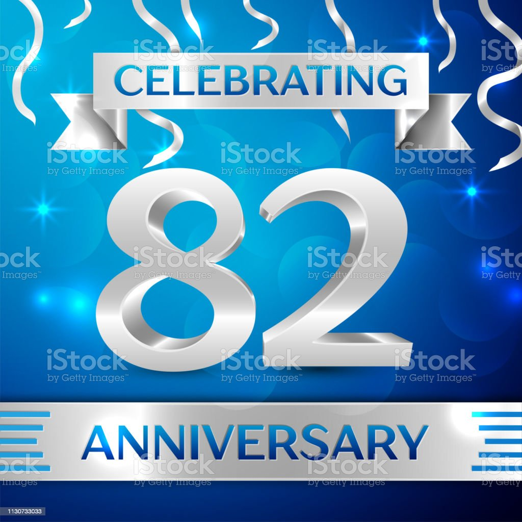 Eighty two 82 Years Anniversary Celebration Design. Confetti and silver ribbon on blue background. Colorful Vector template elements for your birthday party. Anniversary ribbon vector art illustration