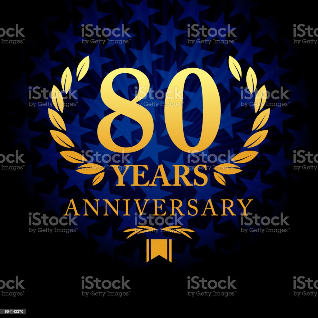 Eighty year anniversary icon with blue color star shape background vector art illustration