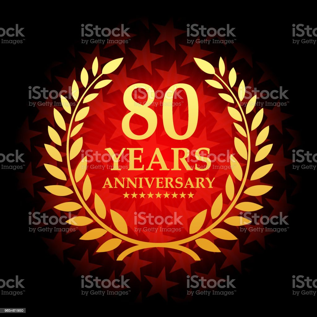 Eighty year anniversary icon with red color star shape background vector art illustration